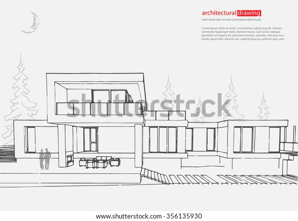 Wireframe Drawing 3d Building Vector Architectural Stock