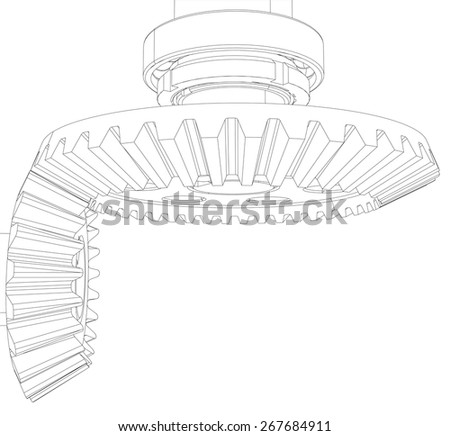 Wireframe Gears Bearings Shafts Closeup Vector Stock Vector Royalty