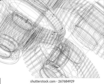 Wire-frame gears with shafts. Close-up. Vector illustration, 3d render