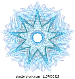 Wireframe guilloche star rosette with layers of light blue and red lines.