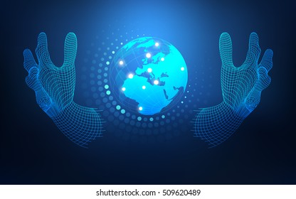 wireframe hand holding globe; concept of communication world or global network