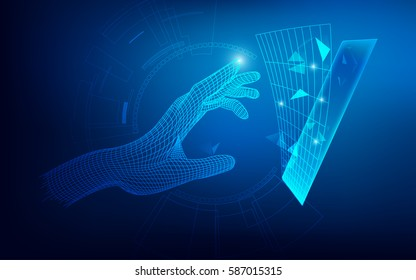 wireframe hand reaching to digital technology object, concept of communication world