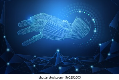 wireframe hand reaching to digital world, concept of communication technology