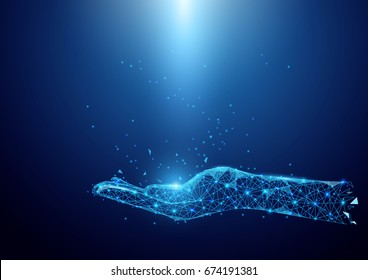 Wireframe hand sign mesh from a starry on blue background