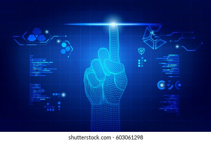 wireframe hand touching digital interface, concept of communication world or cyber security