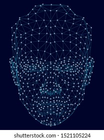 Wireframe of a human face from blue lines on a dark background with luminous lights. Front view. Digital face identification. Vector illustration.