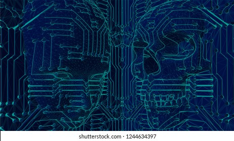 wire-frame illustration of one human face and one skull coming out of a motherboard circuit for virtual reality. representing how technology and artificial intelligence AI can be used