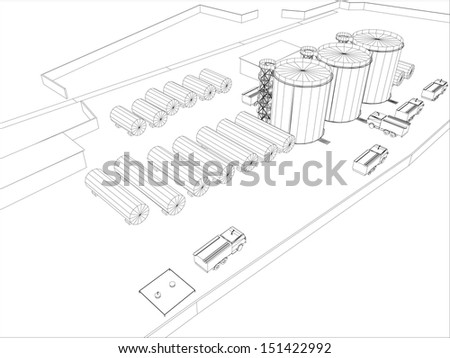 Wireframe Industrial Building On White Background Stock Vector