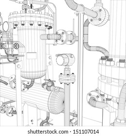 Wire-frame industrial equipment. EPS 10 vector format