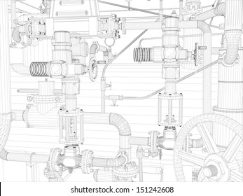 Wire-frame industrial equipment on the white background. EPS 10 vector format
