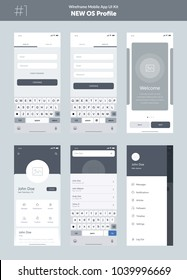 Wireframe kit for mobile phone. Mobile App UI, UX design. New OS Profile. Walkthrough, welcome, sign in, sign up, profile, account, login, search and menu screens.