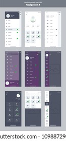 Wireframe kit for mobile phone. Mobile App UI, UX design. New navigation. Menu screens: home, article, video, messages, friends, notifications, profile, settings, logout, search.