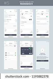 Wireframe kit for mobile phone. Mobile App UI, UX design. New ecommerce screens: cart, checkout, order, address, shipping, payment product and thank you screens.