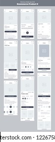 Wireframe kit for mobile phone. Mobile App UI, UX design. New ecommerce: store, products, category, details, new, price and add to cart screens.