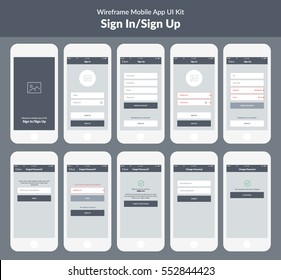 Wireframe kit for mobile phone. Mobile App UI design.  Splash, sign in, sign up, create account, check your e-mail, login, reset password and invalid e-mail screens.
