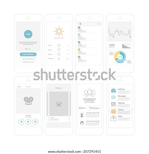 Wireframe Kit Mobile Phone Ui Design Stock Vector (Royalty Free