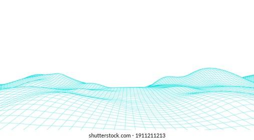 Wireframe landscape wire. Wireframe terrain polygon landscape design. 3d landscape, Network connection background