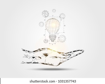 Wireframe lightbulb and 3d gear on hand represents concept of engineering and innovation. Technology Background. Vector illustration.
