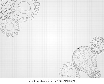 Wireframe lightbulb and 3d gear on grid represents concept of engineering and innovation. Technology Background. Vector illustration.