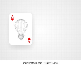 Wireframe lightbulb inside the ace card on grid blueprint metric. Concept of thinking out of the box. Technology Background. Vector illustration.