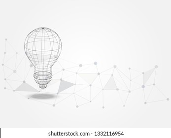 Wireframe lightbulb on background of connected line represent technology concept and innovation. Technology Background. Vector Illustration.