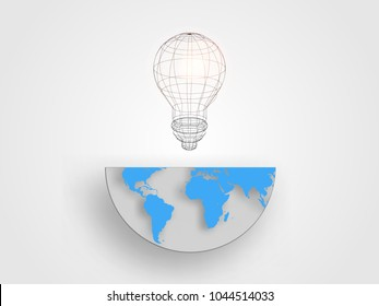Wireframe lightbulb on half size of the earth map represent concept of innovation and idea. Technology background. Vector illustration