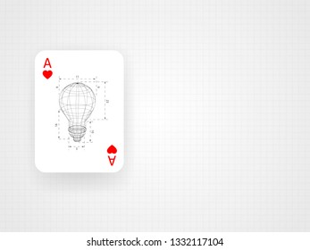 Wireframe lightbulb with ratio inside the ace card on grid blueprint metric. Concept of thinking out of the box. Technology Background. Vector illustration.