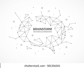 Wireframe mesh broken polygonal element. Brain shape with connected lines and dots. Connection Structure. Digital Data Visualization.
