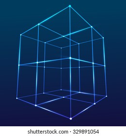 Wireframe Mesh Cube. Connected dots and lines. Connection Structure. Digital Data Visualization Concept. Vector Illustration.