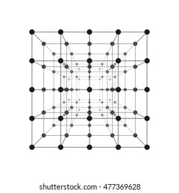 Wireframe Mesh Cube. Connected Dots And Lines. Connection Structure. Digital Data Visualization Concept. Vector Illustration