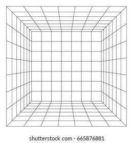 Wireframe Mesh Cube Room. Connection Structure. Digital Data Visualization Concept. Vector Illustration.