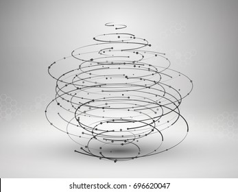 Wireframe mesh element. Abstract swirl form with connected lines and dots. Connection concept. Technology background. Vector Illustration.