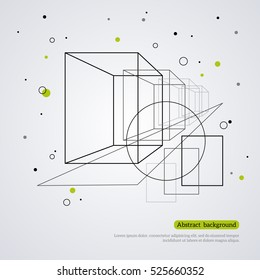 Wireframe mesh element with cube shapes and circle. Connected lines, dots. Vector Illustration. Abstract form design. Technology background