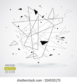 Wireframe mesh element with triangle shapes. Abstract form. Connected lines and dots. Vector Illustration. Abstract molecule design. Technology background
