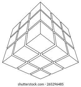 Wireframe mesh outline cube. Vector Illustration EPS10.