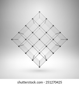 Wireframe mesh polygonal element. Cube with connected lines and dots. Vector Illustration EPS10.