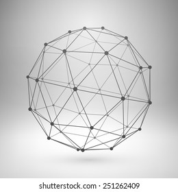 Wireframe mesh polygonal element. Sphere with connected lines and dots. Vector Illustration EPS10.