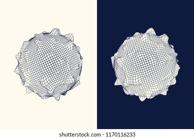 Wireframe mesh polygonal knobbly globes. Abstract vector illustration