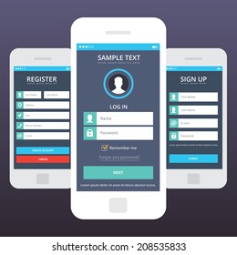 Wireframe mobile app ui kit mobile app. Login screen, signup screen, sign in screen, register screen, registration forms, create new account, log in existing account, mobile templates.