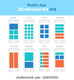 Wireframe mobile app ui kit 8. Mobile grid screens collection. Main screen grid, 74 x 74 grid screen, 120 x 120 grid screen, 5 row horizontal screen, vertical columns screen, blog posts grid screen.