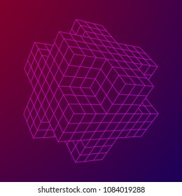 Wireframe Necker Cube. Cube of connected lines. Molecular lattice. The structural grid of polygons. Vector illustration sacred geometry