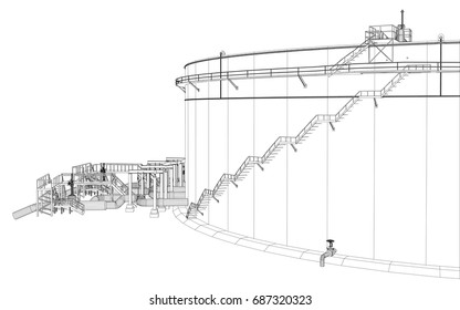 Wire-frame oil tank. EPS 10 vector format. Vector rendering of 3d
