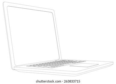 Wire-frame open laptop. Perspective view. Vector illustration rendering of 3d