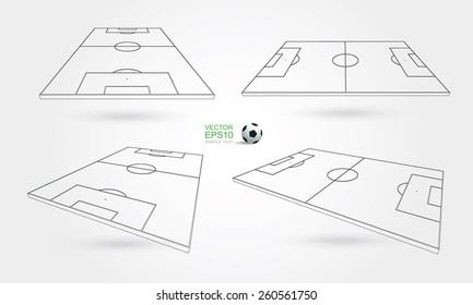 Wireframe perspective view of soccer field and soccer ball on white background. Vector illustration.