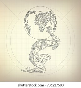 wireframe polygon man carrying globe in futuristic retro style, vector of atlas in modern abstract style