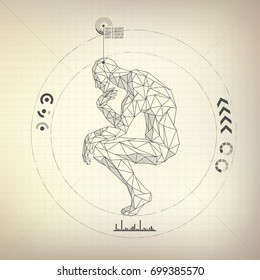 wireframe polygon man is thinking in futuristic retro style, vector of a great thinker