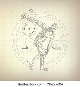 wireframe polygon man is throwing disc in futuristic retro style, vector of discobolus in modern abstract style