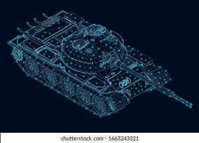 Wireframe of a polygonal combat tank of blue lines with luminous lights on a dark background. View isometric. 3D. Vector illustration