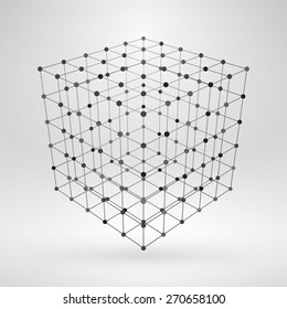 Wireframe polygonal element. 3D cube with lines and dots abstract vector background