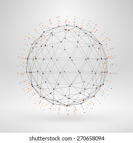 Wireframe polygonal element. 3D sphere with lines and dots abstract vector background
